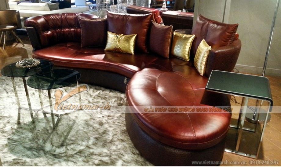 Mẫu ghế Sofa góc da nhập khẩu cao cấp cho phòng khách biệt thự - 03