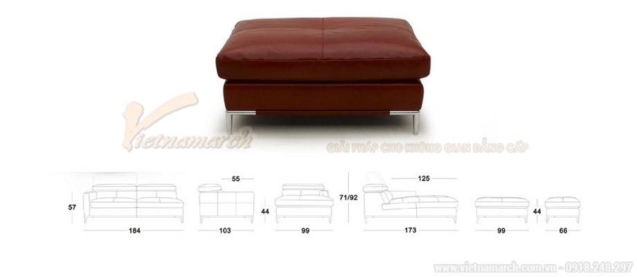 Ghế sofa góc VNSD055 hiện đại da bóng màu đỏ chữ L cao cấp - 03