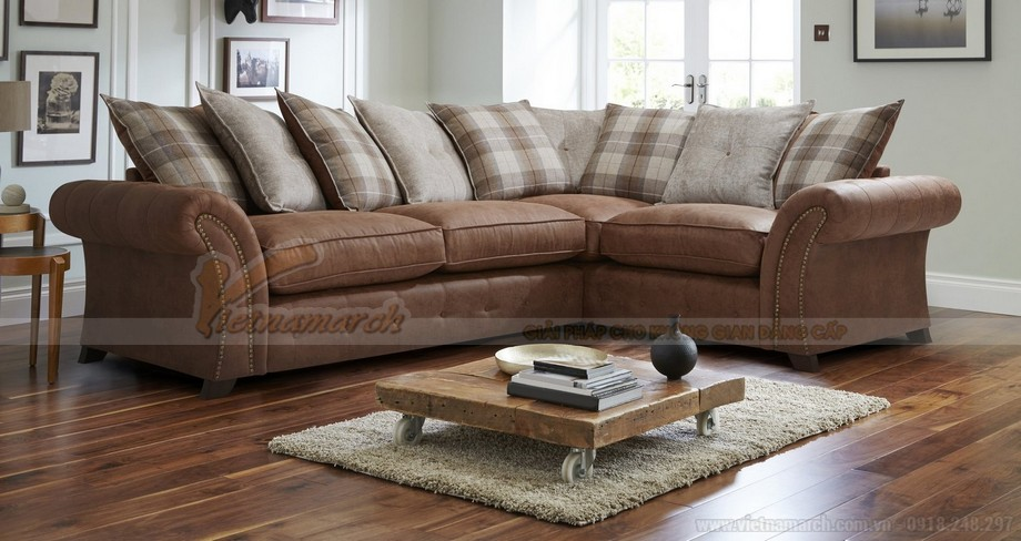 Mẫu ghế sofa góc VNSD060 chất liệu da công nghiệp nhìn như da bò - 05