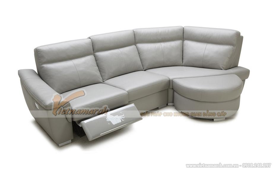 Sofa da màu xám lịch lãm cho phòng khách nhà phố