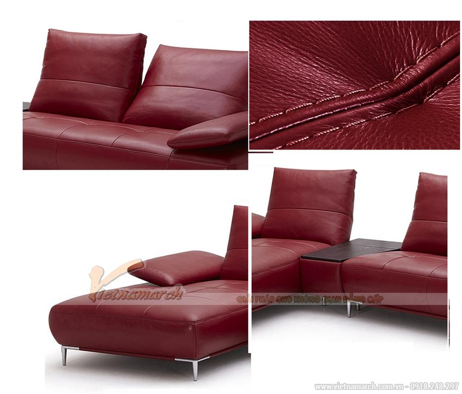 Sofa góc màu đỏ mận không tay vịn