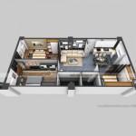 Phương án thiết kế cải tạo căn hộ B2 anh Trung chung cư Đông Đô