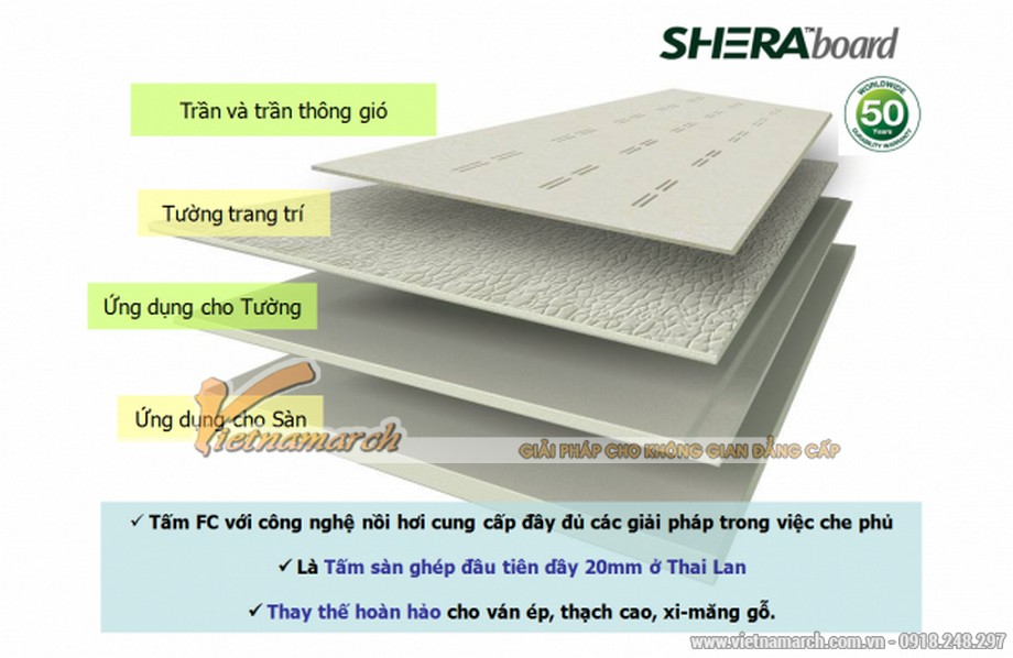 Tấm xi măng Shera làm trần chìm chịu nước - 02