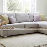 Mẫu ghế sofa trắng sáng dáng góc nhẹ nhàng nữ tính cho phòng khách – Mã: SVG-028