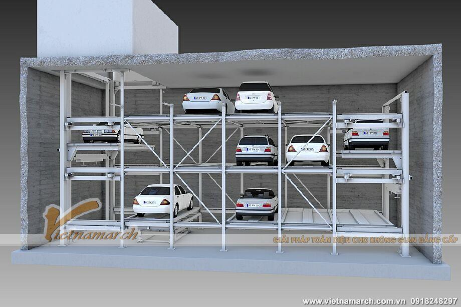 Hệ thống đỗ xe băng tải - giàn thép đỗ xe 3 tầng