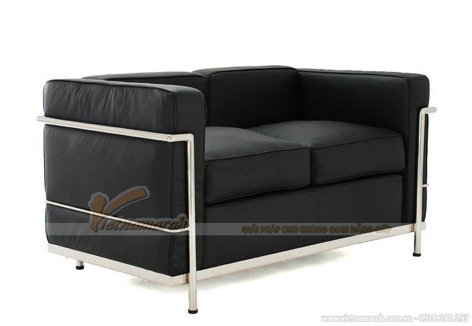 Mẫu ghế sofa da văng hai chỗ ngồi nhìn như chiếc giường thu gọn - 02