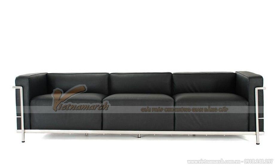 Mẫu ghế sofa văng da màu đen cực sang trọng - 01