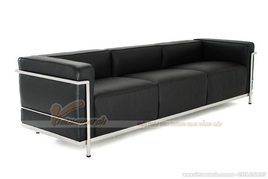 Mẫu ghế sofa văng da màu đen cực sang trọng - 02