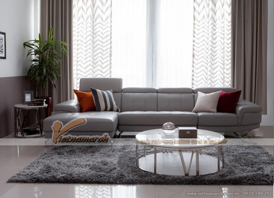 Bộ sofa da trắng kích thước phù hợp với căn phòng