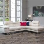 Mẫu ghế sofa da góc màu trắng trẻ trung cho phòng khách thanh lịch – Mã: SDG-062