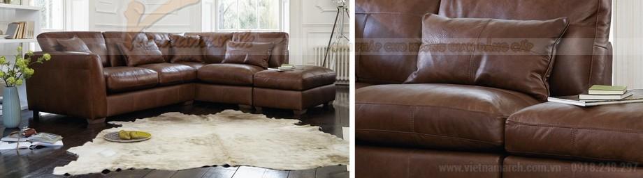 Ghế sofa góc bọc da chân gỗ Lim vững chắc - 01