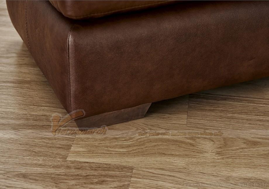 Ghế sofa góc bọc da chân gỗ Lim vững chắc - 04