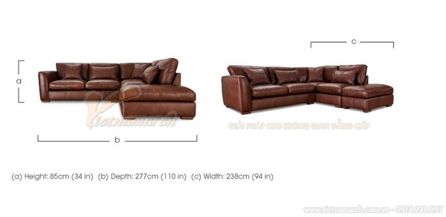 Ghế sofa góc bọc da chân gỗ Lim vững chắc - 06