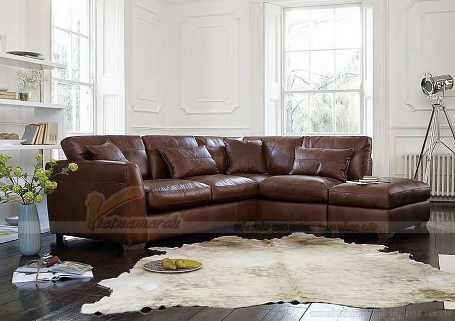 Ghế sofa góc bọc da chân gỗ Lim vững chắc - 05