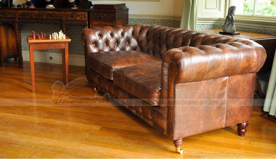 Mẫu ghế sofa da văng cổ điển cho không gian phòng khách trang nhã - 01