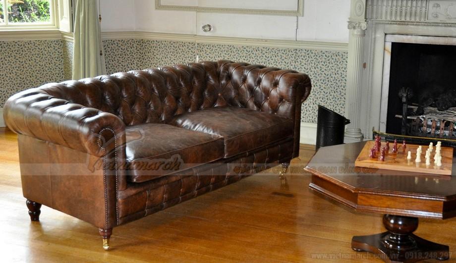 Mẫu ghế sofa da văng cổ điển cho không gian phòng khách trang nhã - 02