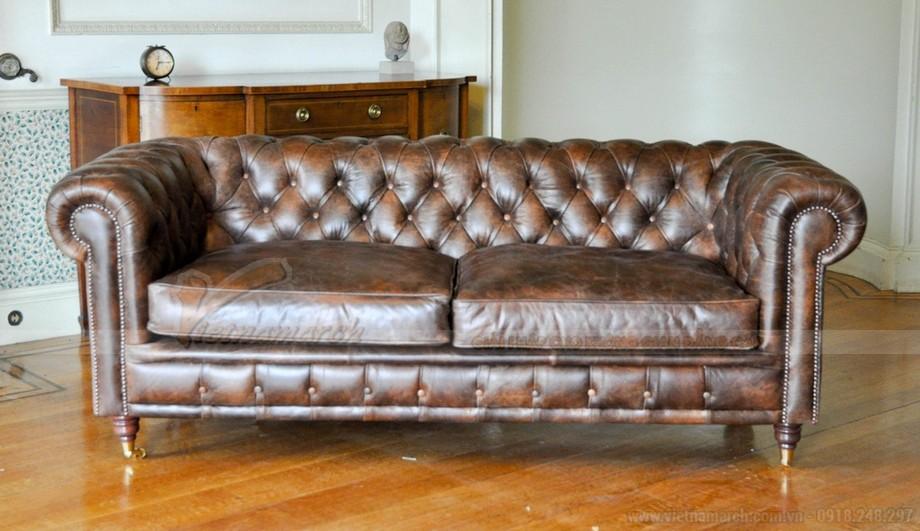 Mẫu ghế sofa da văng cổ điển cho không gian phòng khách trang nhã - 03