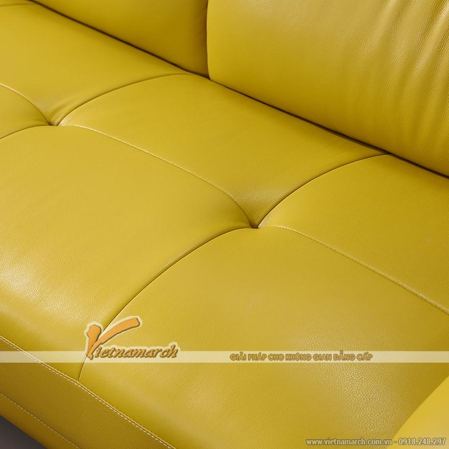 Mẫu ghế sofa da góc gam màu vàng tươi trẻ - 03