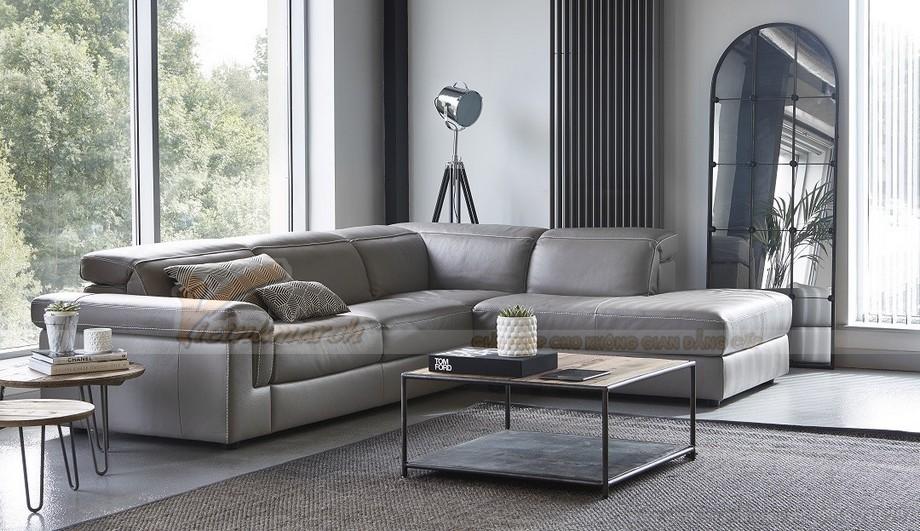 Mẫu ghế sofa da góc khung Inox sang trọng - 01