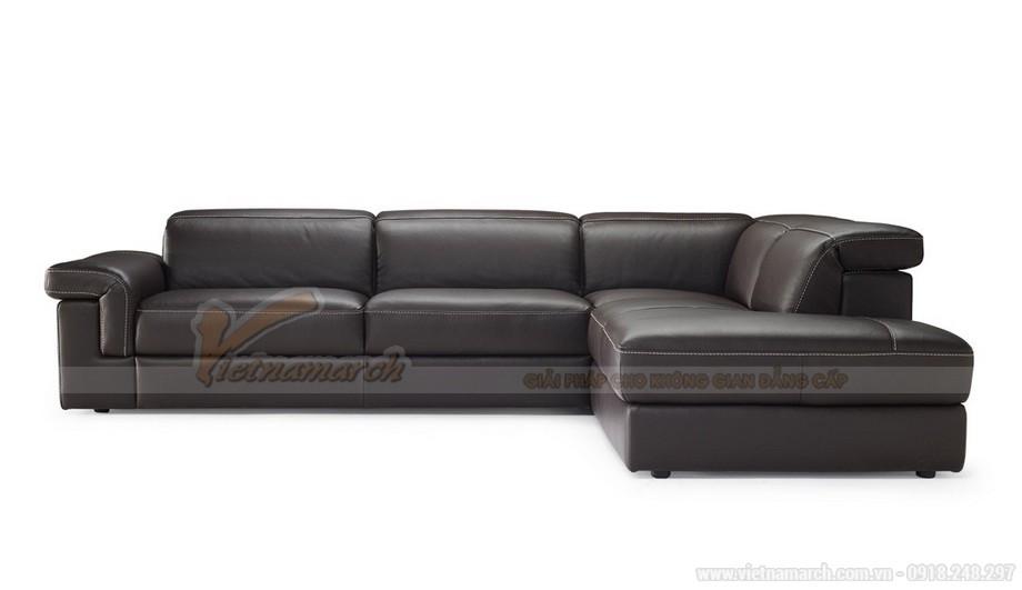 Mẫu ghế sofa da góc khung Inox sang trọng - 02