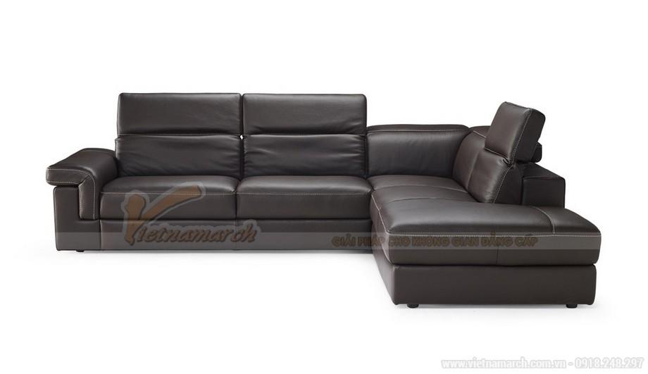 Mẫu ghế sofa da góc khung Inox sang trọng - 03