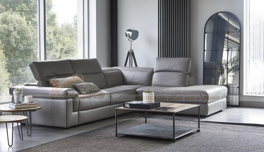 Mẫu ghế sofa da góc khung Inox sang trọng - 04
