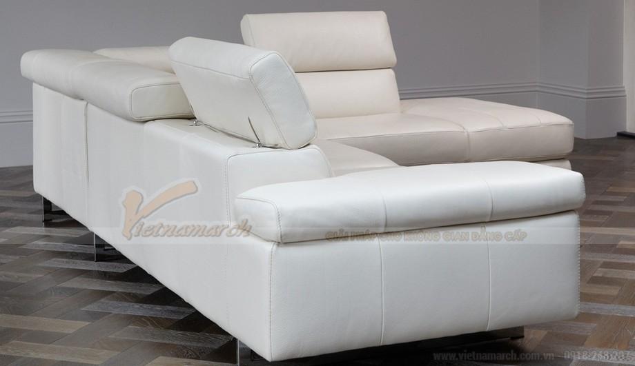 Mẫu ghế sofa da góc màu trắng trẻ trung - 02