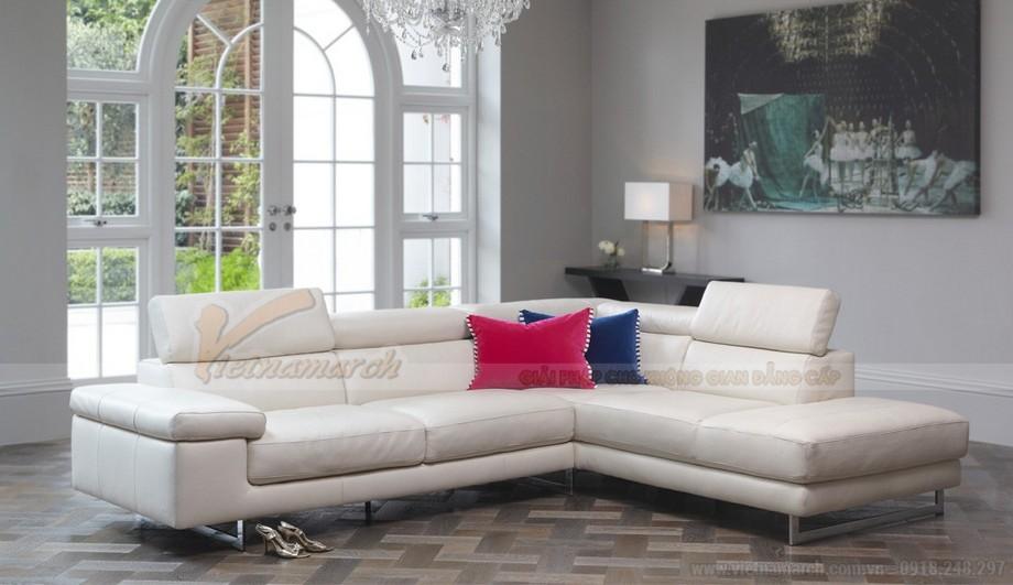 Mẫu ghế sofa da góc màu trắng trẻ trung - 01