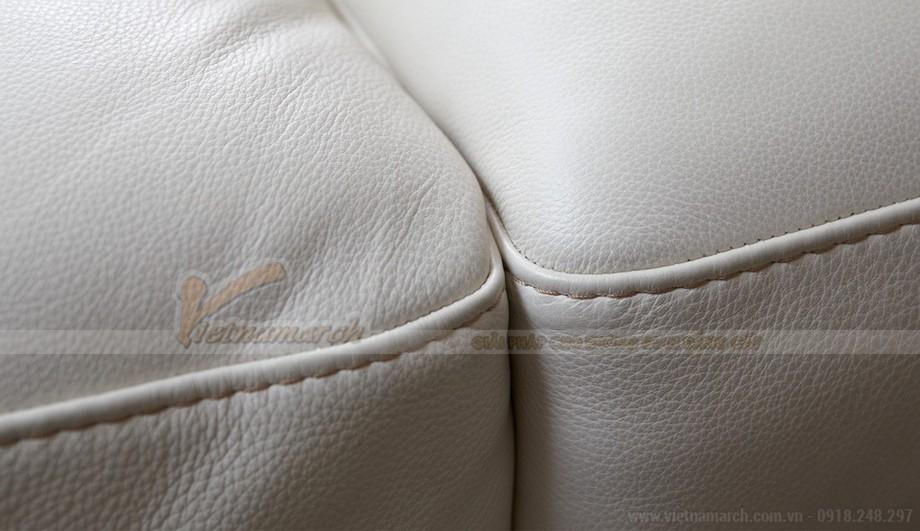 Mẫu ghế sofa da góc màu trắng trẻ trung - 03
