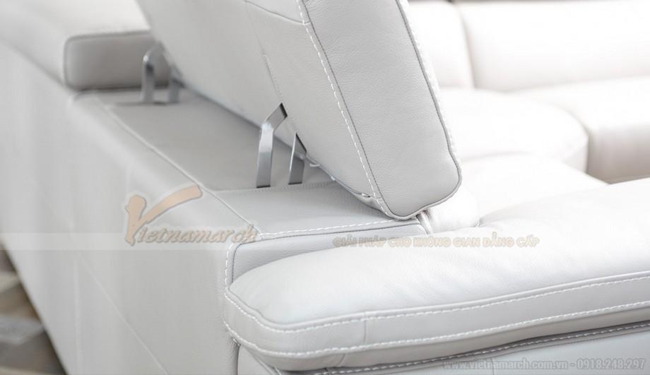 Mẫu ghế sofa da góc màu trắng trẻ trung - 04