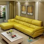 Mẫu ghế sofa da góc gam màu vàng tươi trẻ đầy sức sống – Mã: SDG-060