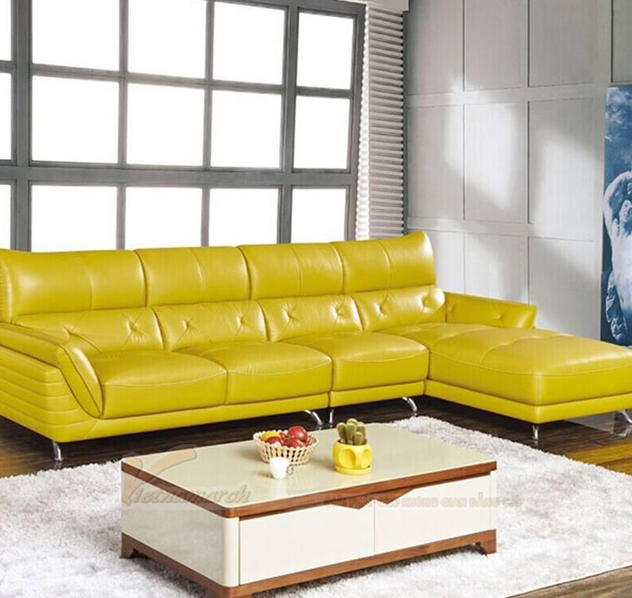 Mẫu ghế sofa da góc gam màu vàng tươi trẻ
