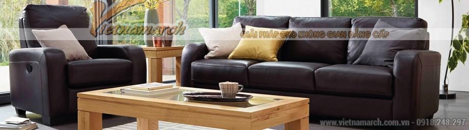 Mẫu ghế sofa văng da đen tuyền quý phái - 01