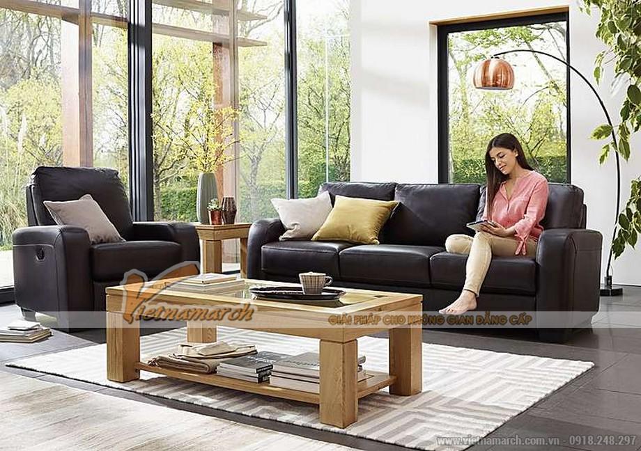 Mẫu ghế sofa văng da đen tuyền quý phái - 05