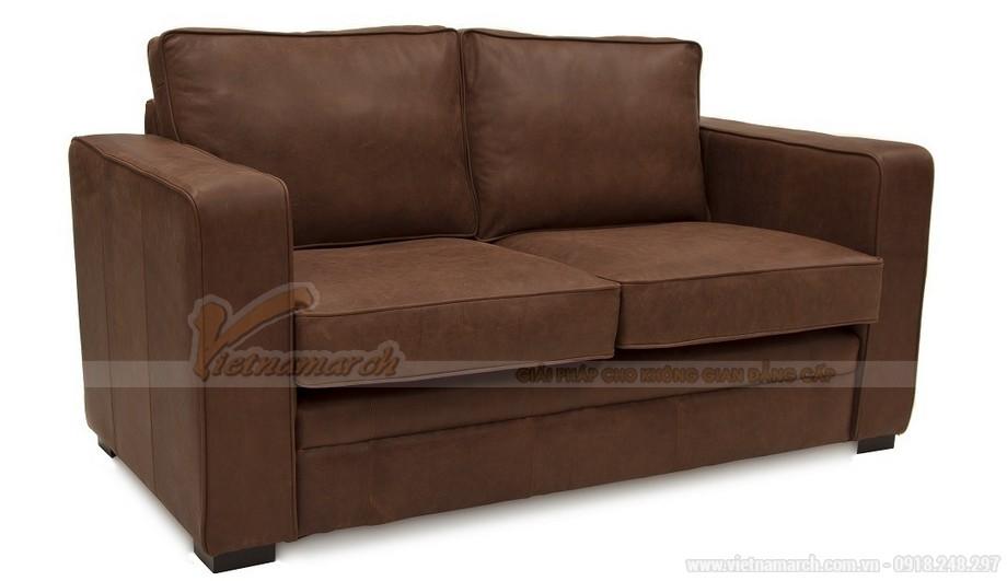 Mẫu ghế sofa da văng hai chỗ ngồi phong cách cổ điển - 02