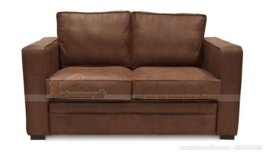 Mẫu ghế sofa da văng hai chỗ ngồi phong cách cổ điển - 01