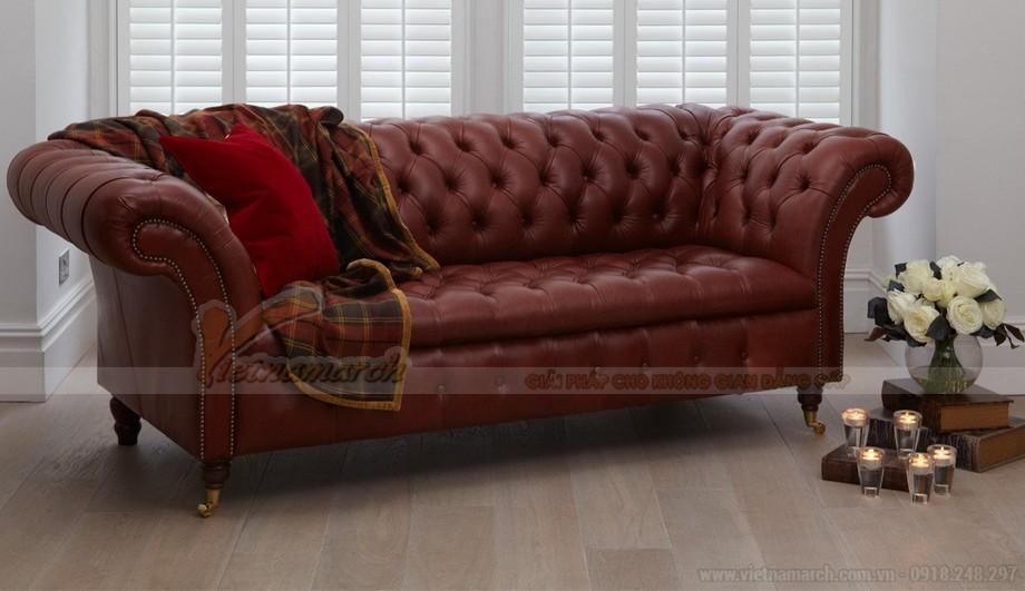 Mẫu ghế sofa da văng khung gỗ Dầu cao cấp - 01