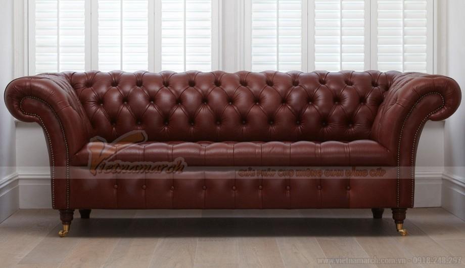 Mẫu ghế sofa da văng khung gỗ Dầu cao cấp - 03