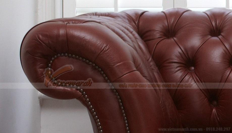 Mẫu ghế sofa da văng khung gỗ Dầu cao cấp - 05