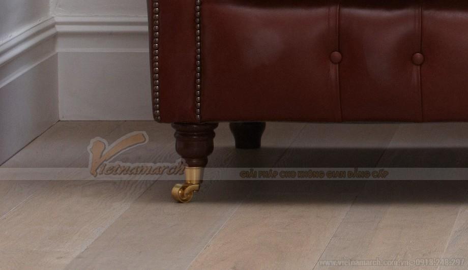 Mẫu ghế sofa da văng khung gỗ Dầu cao cấp - 06