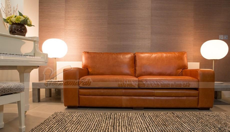Mẫu ghế sofa da văng phong cách tân cổ điển sang trọng - 01