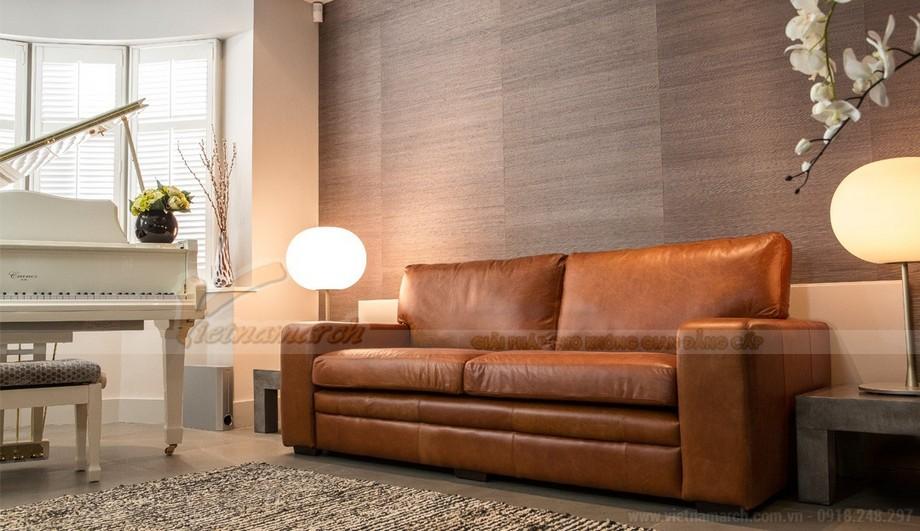 Mẫu ghế sofa da văng phong cách tân cổ điển sang trọng - 02