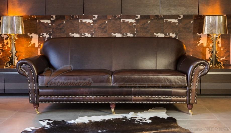 Mẫu ghế sofa da văng thiết kế chân xoay linh động - 02