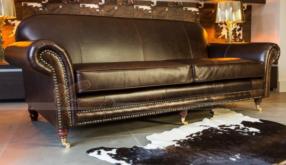 Mẫu ghế sofa da văng thiết kế chân xoay linh động - 01