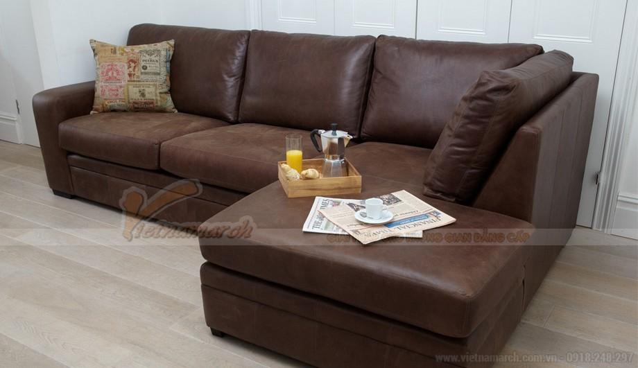 Những mẫu ghế sofa da nâu đẹp quyến rũ cho không gian phòng khách - 04