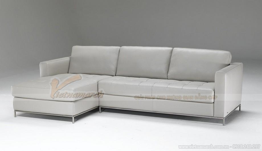 Mẫu ghế sofa góc da trắng chân liền Inox - 01