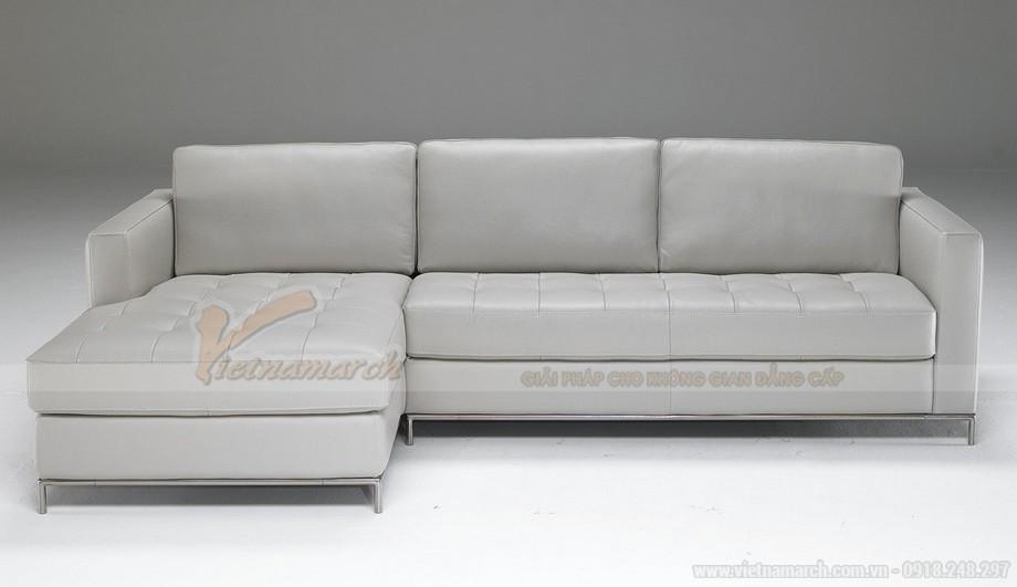 Mẫu ghế sofa góc da trắng chân liền Inox - 02