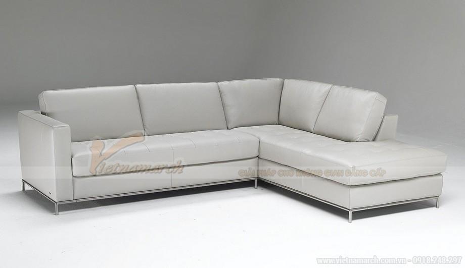 Mẫu ghế sofa góc da trắng chân liền Inox - 03