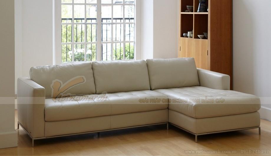 Mẫu ghế sofa góc da trắng chân liền Inox - 04
