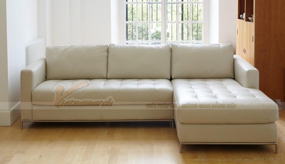 Mẫu ghế sofa góc da trắng chân liền Inox - 05